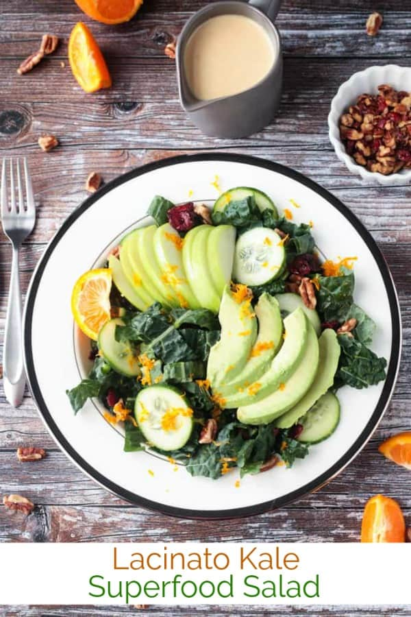 Lacinato Kale Superfood Salad - full of avocados, apples, cucumbers, pecans, and dried cranberries in a creamy oil-free citrus tahini dressing. The perfect stand alone salad or great as a side to any meal or even on holiday menus. Great for detox! #vegan #salad