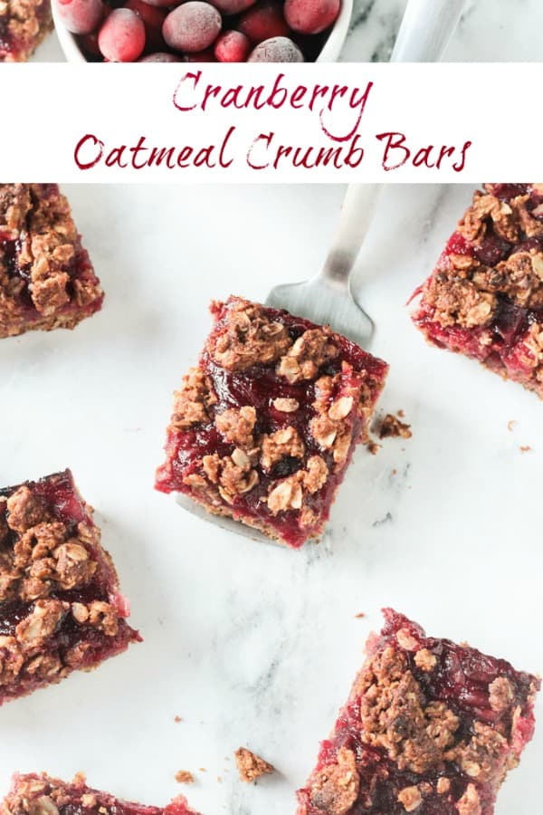 Cranberry Oatmeal Bars - sweet, tart, cranberry sauce nestled between a soft oatmeal base and a crumbly oat topping. Use leftover cranberry sauce to make these crumb bars even easier. They are so addictive - you're gonna love them! #vegan #dairyfree #refinedsugarfree #cranberrysauce #cranberries #oats #crumble