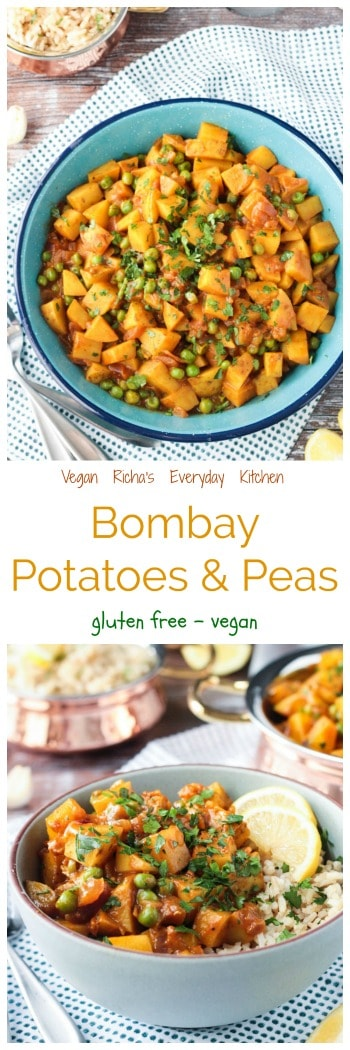 Bombay Potatoes and Peas from Vegan Richa's Everyday Kitchen - this Indian spiced dish is perfect as a side or an entree served with chickpeas or over rice. Gluten free, vegan, and so easy to make. #vegan #glutenfree #potatoes #sidedish #entree #Indian