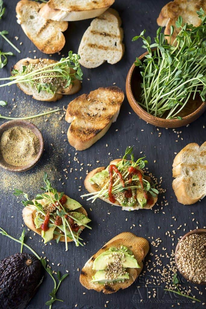 Vegan Appetizers: Avocado Crostini