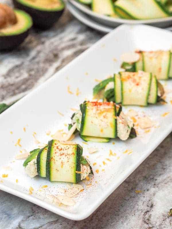 Vegan Appetizers: Zucchini Rolls w: Cashew Ricotta
