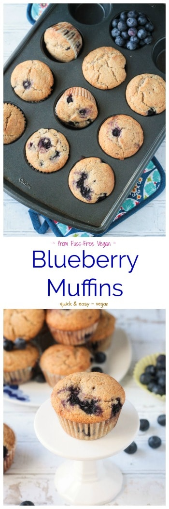 Vegan Blueberry Bliss Muffins from the cookbook, Fuss-Free Vegan. They're soft, light, fluffy, and crazy delicious! Grab one for breakfast, snack, or even dessert now! #vegan #muffins #breakfast #blueberries #itdoesnttastelikechicken #fussfreevegan