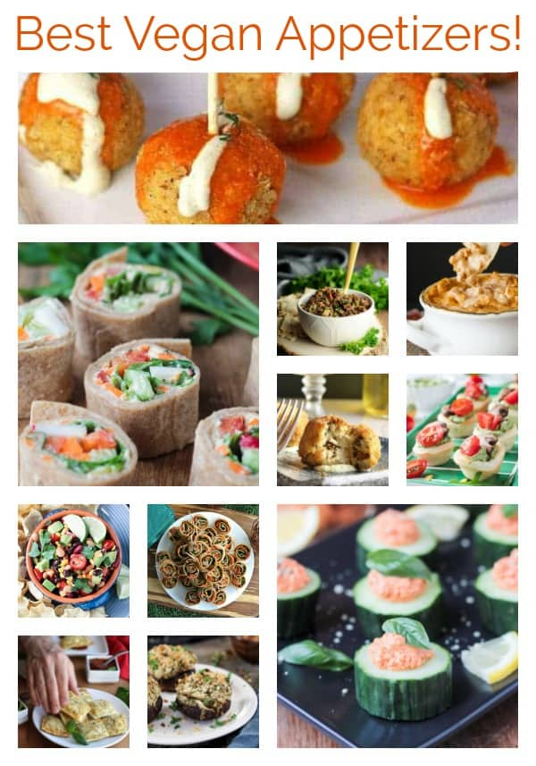 Vegan Appetizers - This roundup of deliciousness will ensure your next party is a huge success. Easy one bite snacks, flavorful dip and spreads, and stuffed all-the-things. Perfect for New Year's Eve, Game Day, or any other party theme you can think of. Suitable for anyone who loves to eat - not just vegans! Let's get our party on! #vegan #appetizers #horsd'oeuvres #party #newyearseve #gameday #snacks #smallbites #healthyeating #vegetarian