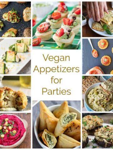 Collage of vegan appetizer recipe photos