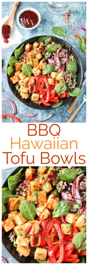 BBQ Hawaiian Tofu Bowls from The Simply Vegan Cookbook. Super easy and ready in just 30 minutes, this vegan bowl makes the perfect vegetarian weeknight meal. Customize it with your favorite vegetables and your favorite barbecue sauce. A delicious vegan lunch or dinner! #vegan #bbq #vegetarian #dairyfree #meatless #tofu #easy