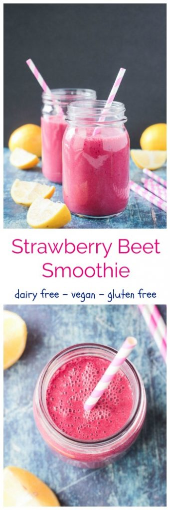 Strawberry Beet Smoothie - a gorgeous pink hued, dairy free, smoothie with the sweetness of berries and banana and the earthiness of beets. A little spicy and tangy too. Bulked up with plant protein, minerals, and healthy fats it's the perfect balance of healthy nutrition and yummy treat. #vegan #dairyfree #smoothie #valentinesday #beets #pink #healthy #cleaneating #detox #cleanse