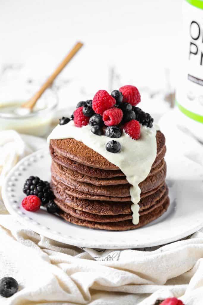 Vegan Pancakes: Gluten Free Chocolate Protein Pancakes
