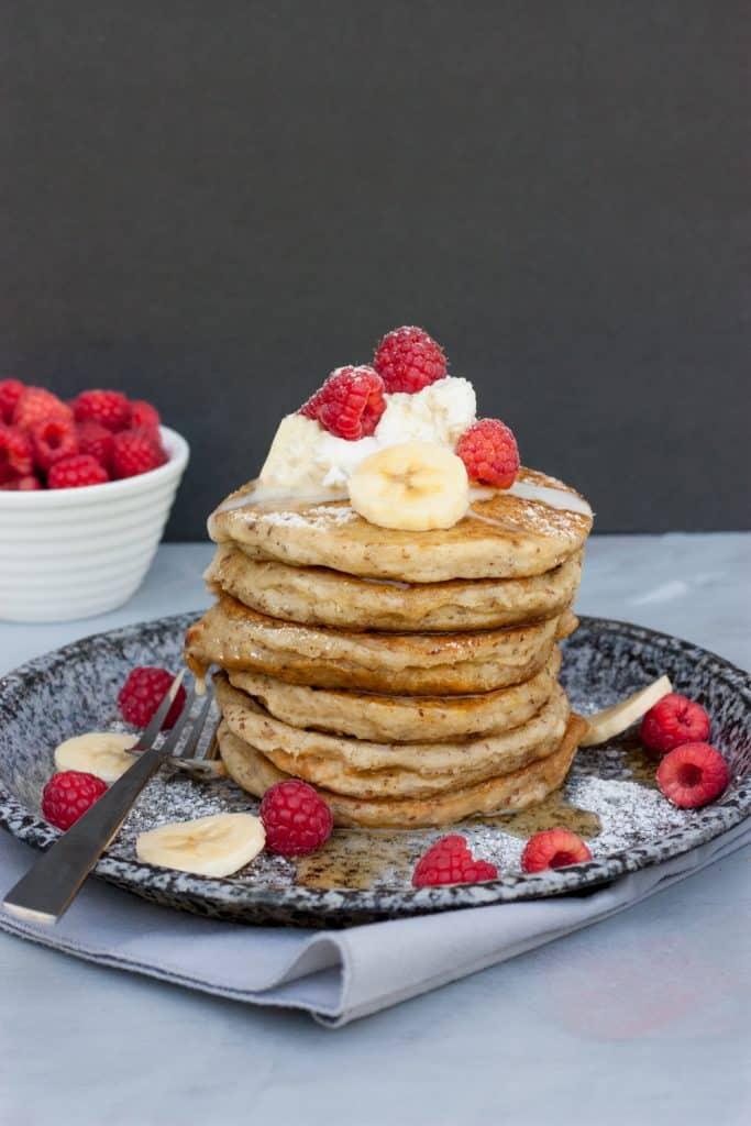 Vegan Pancakes: Peanut Butter Banana Stuffed Pancakes