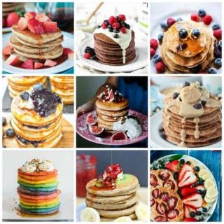 The Best Vegan Pancakes to make all of your breakfast dreams come true. All are dairy free and egg free. Some are gluten free, refined sugar free, nut free, and oil free. All are delicious! Whip up a batch today!