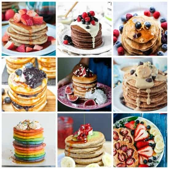 Collage of 9 vegan pancake recipe photos