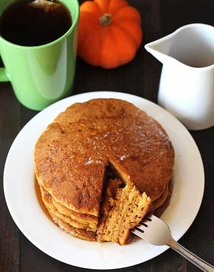 Vegan Pancakes: Gluten Free Pumpkin Pancakes