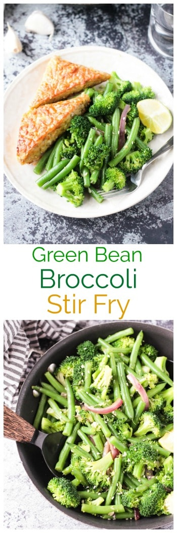 Easy Green Bean Broccoli Stir Fry. An easy weeknight vegetable side dish that takes less than 30 minutes. Just a few ingredients are needed, but it brings lots of flavor and nutrients. Serve it as a side or over pasta or rice. #vegan #vegetarian #vegetables #glutenfree #dairyfree #meatless #sidedish #stirfry