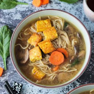 Soothing Mushroom Ramen Soup with Crispy Tofu