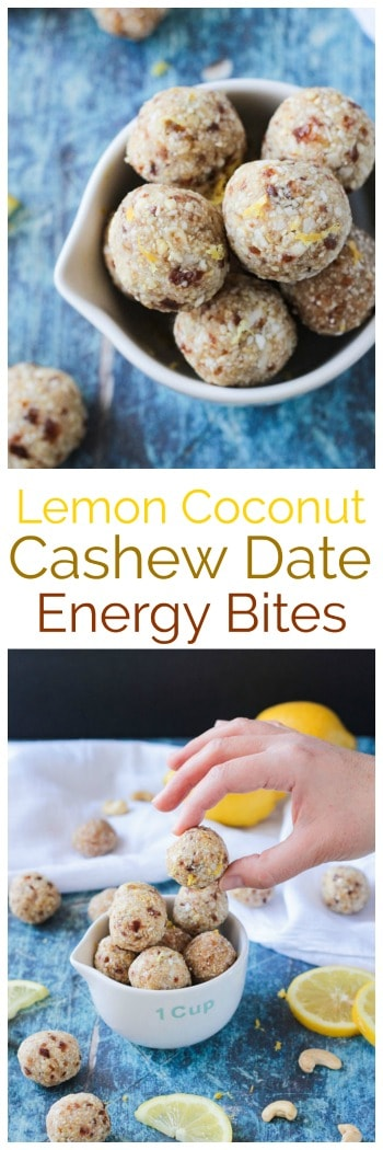 Lemon Coconut Cashew Date Balls - little bite size energy bites with light and bright flavors perfect for spring. Great for breakfast on the go, a pre or post workout snack, an afternoon treat, or even a sweet treat nibble for dessert. Pairs perfectly with coffee or tea! #truffles #energybites #blissballs #dairyfree #glutenfree #coconut #spring #lemon #snacks #postworkout #preworkout