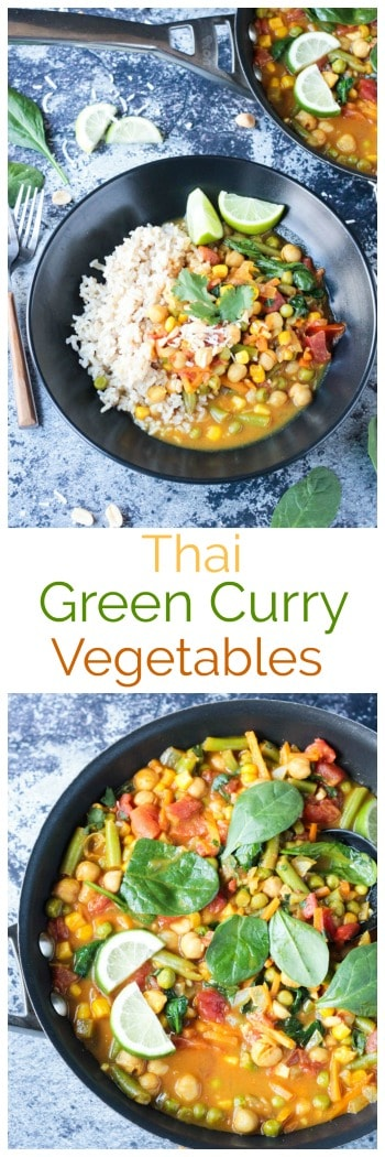 Quick and Easy Thai Green Curry Vegetables - fragrant, flavorful and ready in under 30 minutes. Perfect for a weeknight meal. Serve it up with rice or noodles. Kid approved too! #vegan #vegetarian #curry #thai #rice #vegetables #dairyfree #glutenfree