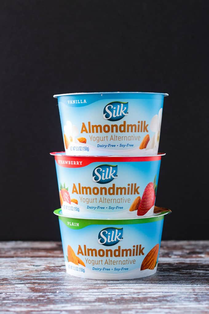 Stack of 3 Silk Almondmilk Yogurt Alternative containers