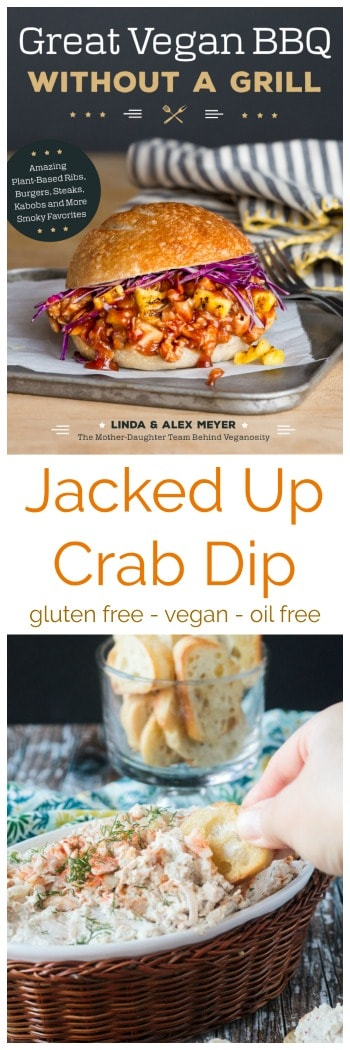 Cold Crab Dip - made with shredded jackfruit, blended cashews, spices, and seasonings for a super creamy, satisfying, spot-on vegan version of this traditional party appetizer. This recipe comes from the cookbook, Great Vegan BBQ Without A Grill by Linda & Alex Meyer. #vegan #bbq #crabdip #dairyfree #meatless #vegetarian #appetizer #party