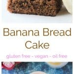Gluten Free Banana Bread Cake - a delicious, fluffy, and easy way to use up those overripe bananas. Bonus: it's gluten free and grain free thanks to banana flour! #bananabread #bananacake #dessert #vegan #dairyfree #glutenfree #easyvegan #bananas
