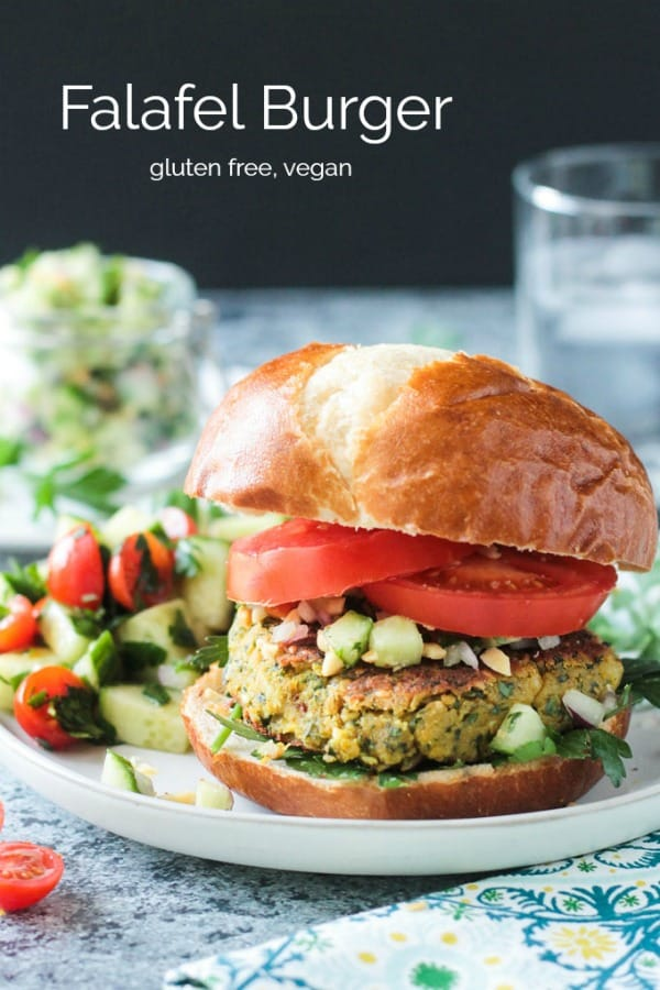 Falafel Burger - spiced and herby, this meatless burger is a creative dinner that can be on your table in under 30 minutes. Gluten free and vegan. #30minute meal #vegetarian #burger #falafel #glutenfree #vegan #dairyfree #dinner #lunch #easy #quick