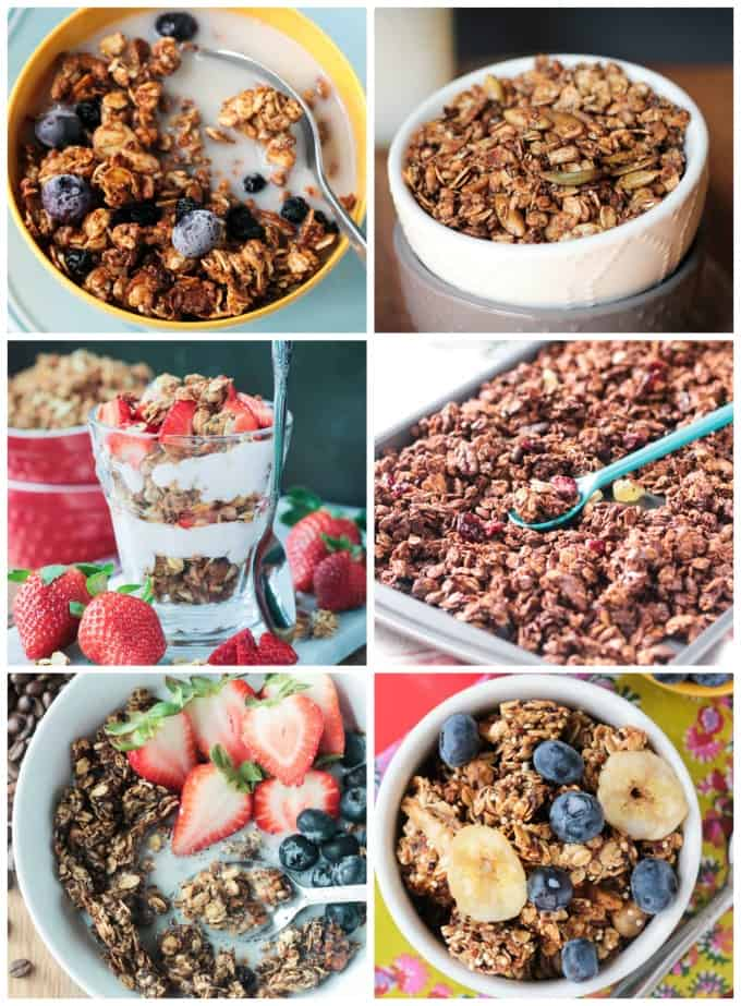 Collage of 6 different granola varieties.