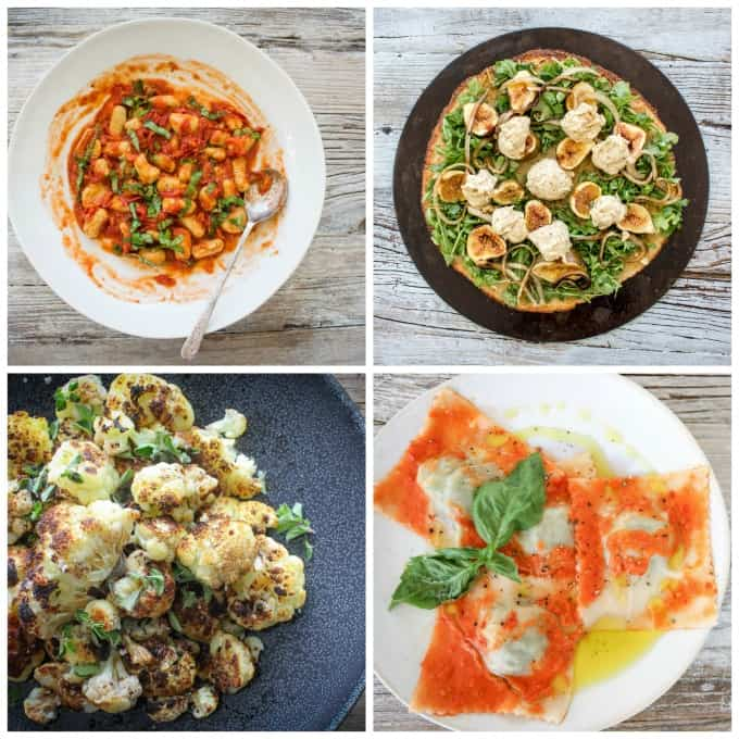 A collage of 4 photos from The Plantpower Way cookbook