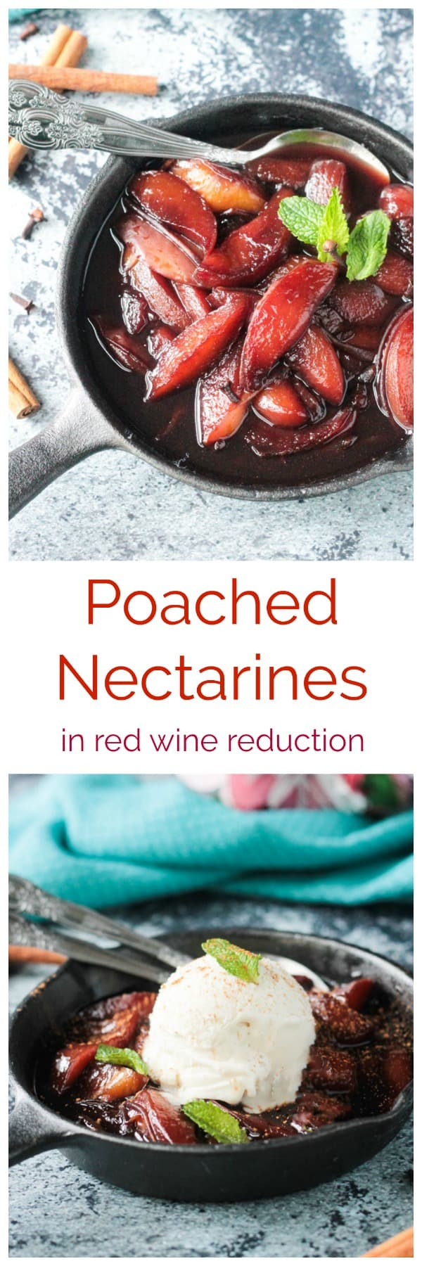 Poached Nectarines in red wine and spices from The Plantpower Way: Italia from Julie Piatt and Rich Roll. Elegant enough for entertaining, simple enough for a summer dessert any day of the week.#vegan #dessert #summer #nectarines #stonefruit #redwine #dairyfree