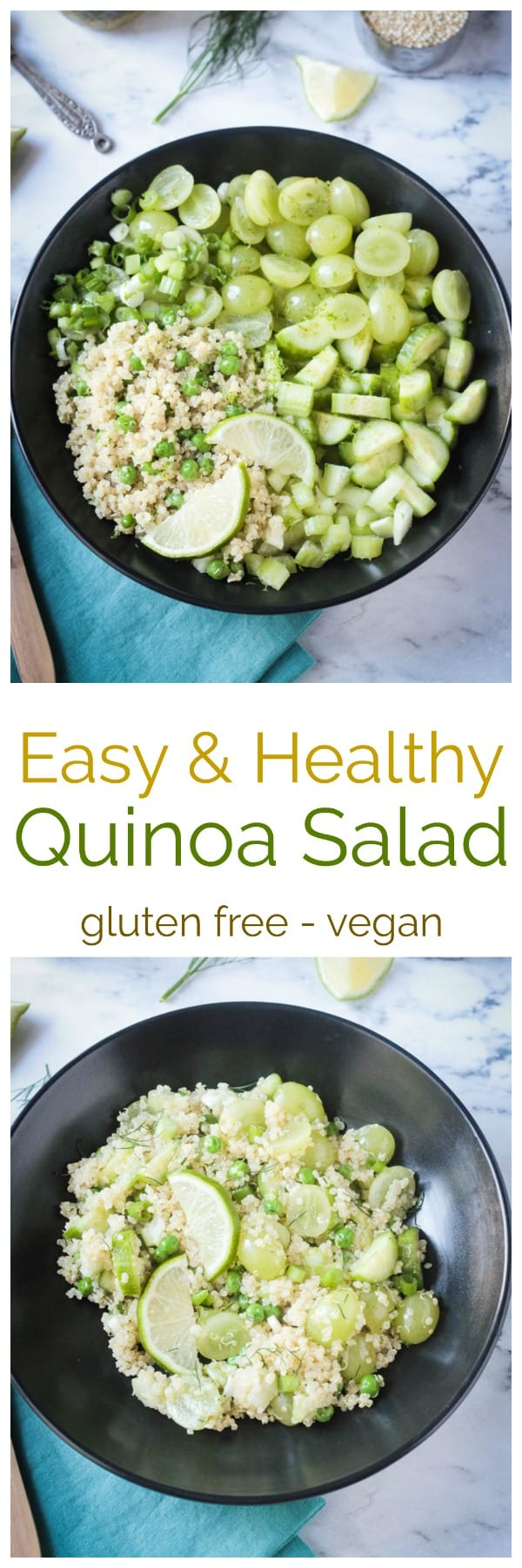 Healthy Vegan Quinoa Salad w/ Fresh Dill & Lime Vinaigrette - a light and refreshing, yet high protein salad that's perfect for spring or summer. Eat it warm, room temperature, or cold. Perfect for lunches on the go, like picnics, potlucks, or school lunch boxes. #vegan #healthy #quinoa #glutenfree #lunch #dinner #easy #meatless #vegetarian #salad