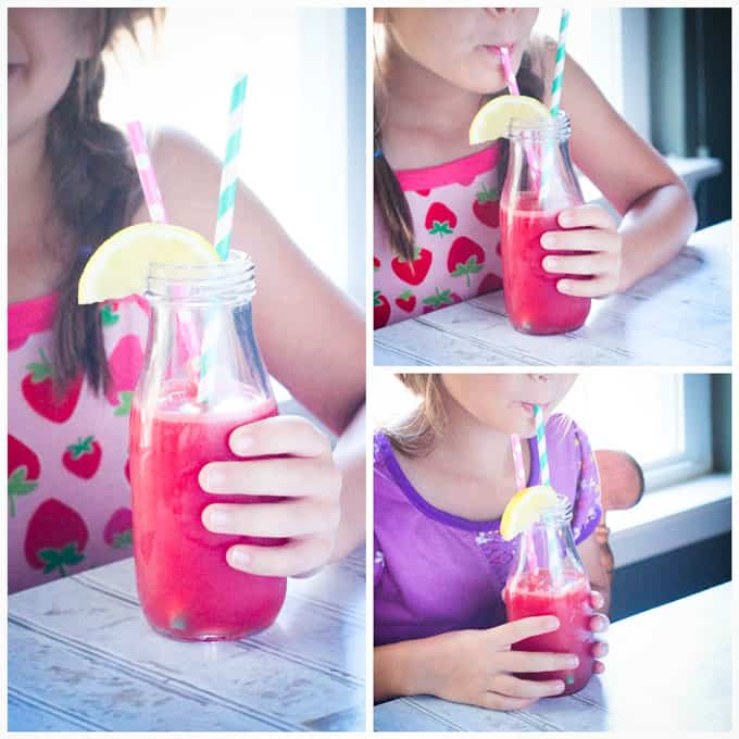 Collage of kids drinking watermelon juice through a straw.