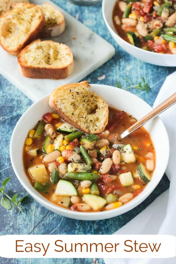 Summer Stew from Vegan Yack Attack On The Go - an easy vegetable and white bean soup recipe that uses the best of summer garden offerings. Perfect for a healthy lunch or pair it with a loaf of crusty bread for a hearty dinner. It all comes together in less than 30 minutes! #vegan #dairyfree #glutenfree #vegetarian #soup #stew #summer #beans #nutfree #quickandeasy