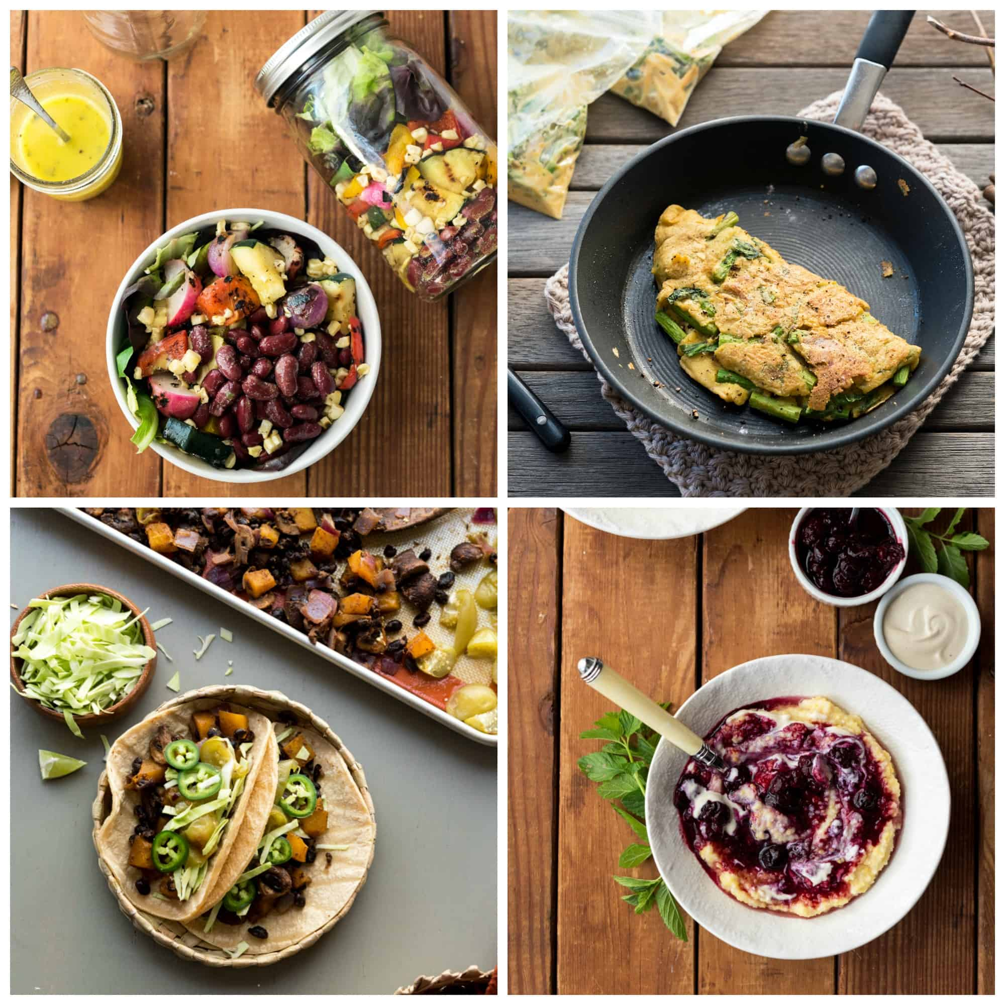 Collage of 4 photos from the Vegan Yack Attack Cookbook, including Mason Jar Salad, Asparagus Omelette, Berry Polenta, and Fajitas