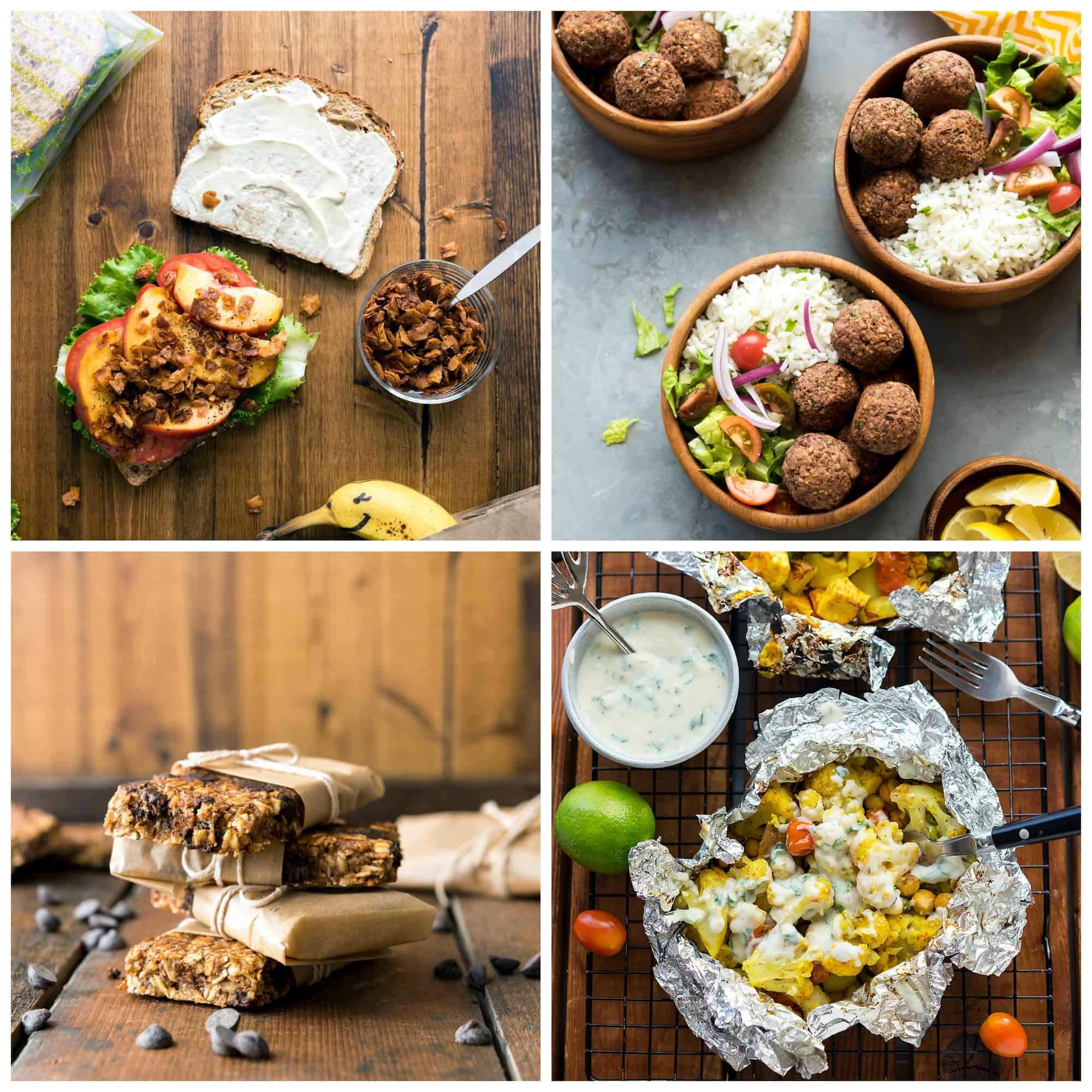 Collage of 4 photos from the Vegan Yack Attack Cookbook, including BLT, Lentil Balls, Cauliflower Curry Packets, and Breakfast Bars