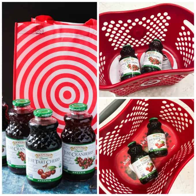 Collage of photos with Bottles of Tart Cherry Juice and Cranberry Juice in a Target Basket and next to a reusable Target shopping bag.