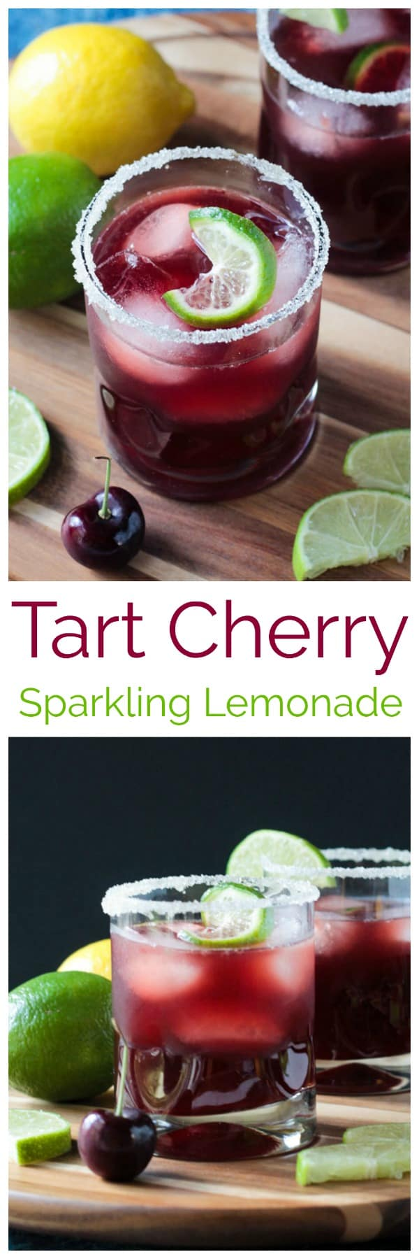 Tart Cherry Sparkling Lemonade - sweet, tart, and a little fizzy, this easy-to-make fruit juice drink is the perfect summer sip! Just 3 ingredients and optional sweetener and you're on your way to beverage bliss. #vegan #glutenfree #dairyfree #quickandeasy #beverage #drink #lemonade #tartcherry #cherry #summer #refreshing #sparklingwater