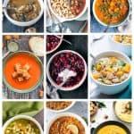 9 photo collage of a variety of vegan soup recipes.