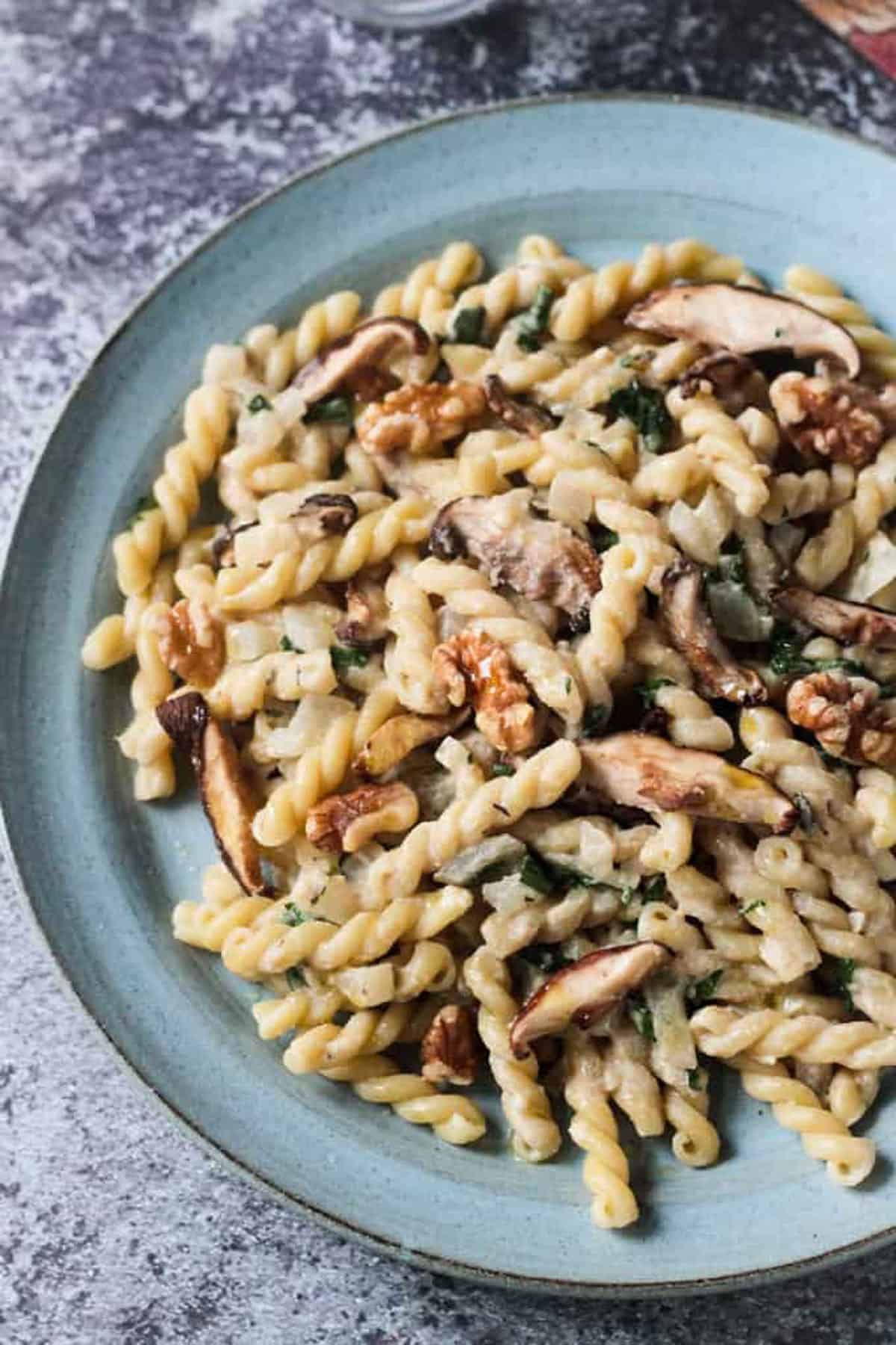 Close up of a plate of creamy mushroom pasta topped with walnuts.