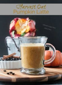 Harvest Oat Pumpkin Latte - a creamy, dairy free coffee drink perfect for sipping this fall. Made with real pumpkin and no refined sugar, this delicious beverage is a indulgent treat you can feel good about. Tastes like your favorite pumpkin spice latte! #vegan #dairyfree #latte #pumpkin #pumpkinspice #coffee #drink #beverage #oatmilk
