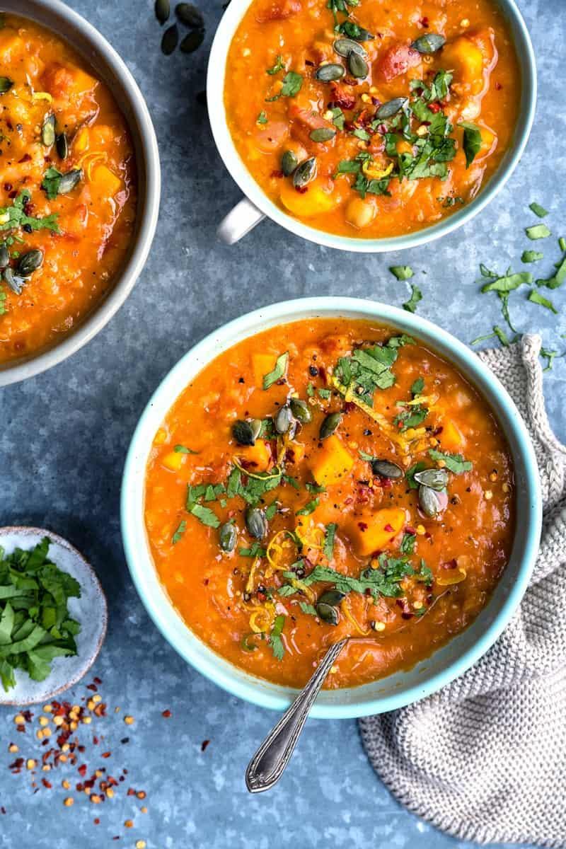 Pressure Cooker Sweet Potato, Chickpea, Red Lentil Soup