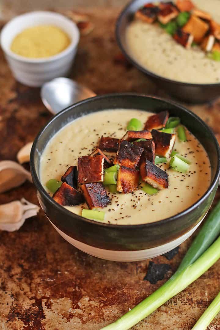 Creamy Cauliflower Soup w/ Tofu