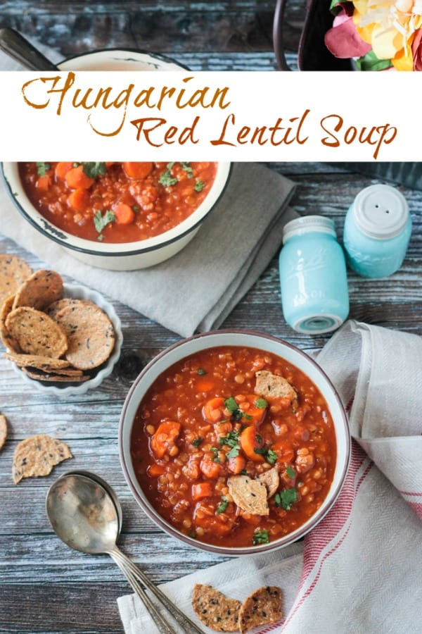 Quick vegan soup dinner! This recipe comes together fast, thanks to red lentils and easy ingredients. The Hungarian paprika, dry mustard, and tomato paste give this simple dish a wonderful depth of flavor. This gluten free soup goes great with some fresh crusty bread! #glutenfree #vegan #dairyfree #dinner #lentils #vegetarian