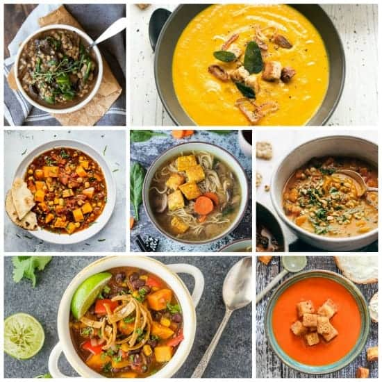 Collage of 7 vegan soup recipes