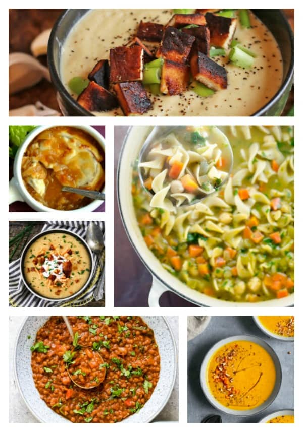 Vegan Soup Recipes - cozy and comforting, nothing beats a warm hearty bowl of soup when it's cold outside. From quick-and-easy stove top recipes to set-it-and-forget-it slow cooker crockpot recipes to short-on-time Instant Pot pressure cooker recipes, you'll find them all here. Creamy, chunky, light, or hearty - no matter what you are craving, there's a soup to warm your soul during these colder months. #vegan #dairyfree #soup #stew #instantpot #slowcooker