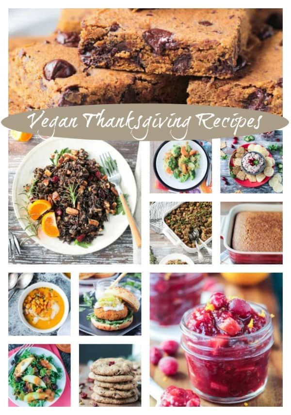 Whether you're cutting out the meat this Thanksgiving or you're hosting someone who is, these Vegan Thanksgiving Ideas will please everyone at your table. Appetizers, salads, soups, main dishes, side dishes, and of course, desserts! Suitable for vegans, vegetarians and omnivores, these dairy free dishes be a hit at your dinner table. #vegan #thanksgiving #holiday #dairyfree #vegetarian #meatless