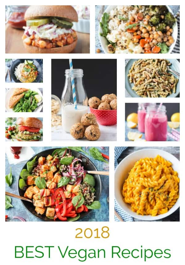 The BEST simple vegan recipes of 2018. The recipes readers loved the most. They are all quick and easy, meatless, and dairy free. Some are gluten free. Some are oil free. All are delicious! Which of these favorite recipes will you add to your menu this week? #vegan #glutenfree #dairyfree #vegetarian #meatless #recipes #quickandeasy