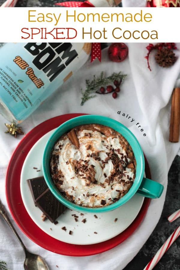 Homemade Spiked Hot Cocoa w/ Cinnamon - rich, creamy, chocolatey, and a little boost to get you through the holidays! Load it up with dairy free whipped topping and dark chocolate shavings for an indulgent treat. It's the perfect cozy winter drink for the whole season. Can be easily made non-alcoholic too!