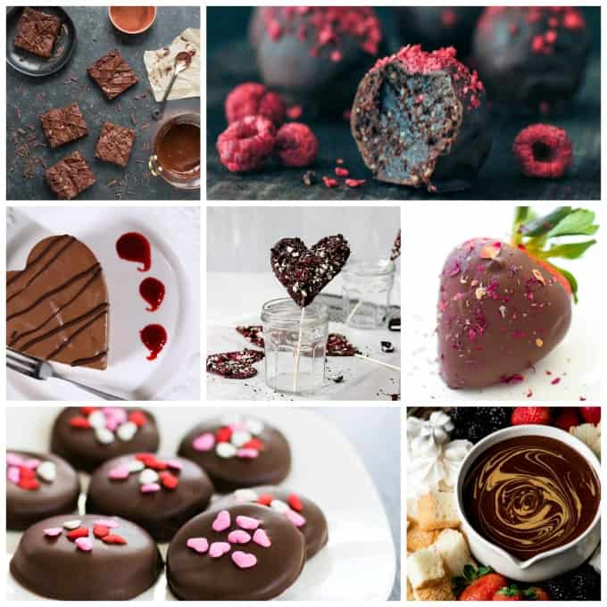 Vegan Chocolate Recipes - Collage of 7 recipes