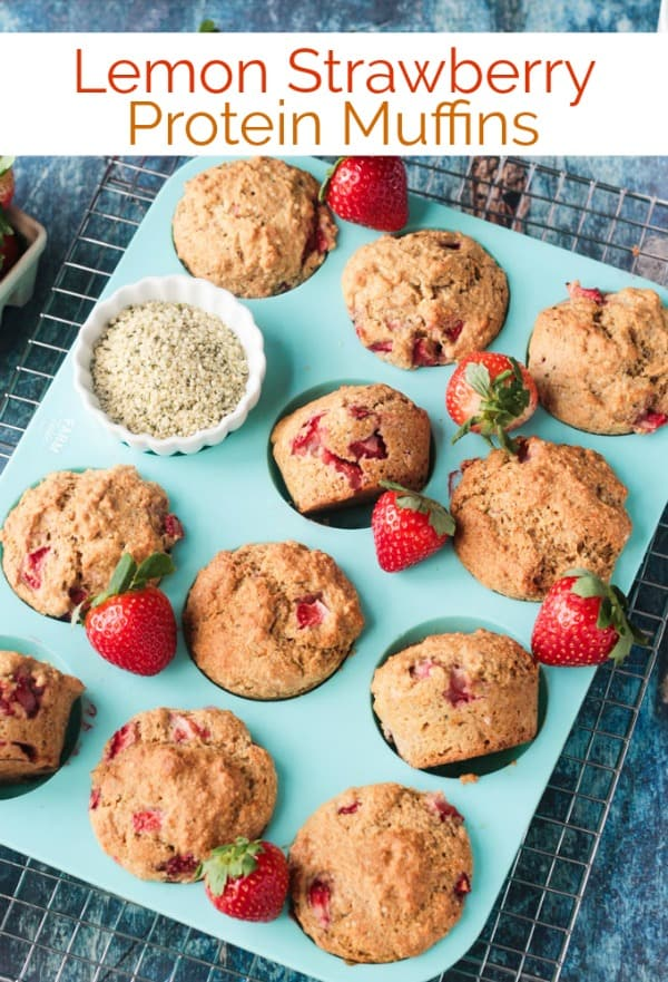 Lemon Strawberry Protein Muffins - crispy tops, soft centers, packed with healthy plant based protein and juicy strawberries, you'll be reaching for these delicious egg-free muffins morning, noon, and night! They make a great vegan breakfast, snack, or even dessert. Made with whole grains, unrefined sugar, and superfoods like hemp hearts and chia seeds, you can feel good about eating more than one! #muffins #breakfast