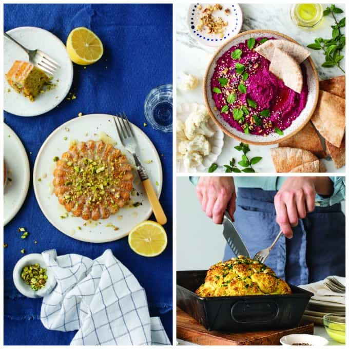 Collage of Beet Hummus, Whole Roasted Cauliflower, and Pistachio Cake from Love & Lemon Cookbook