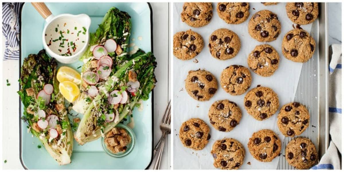 2 photo collage of recipes from the cookbook.
