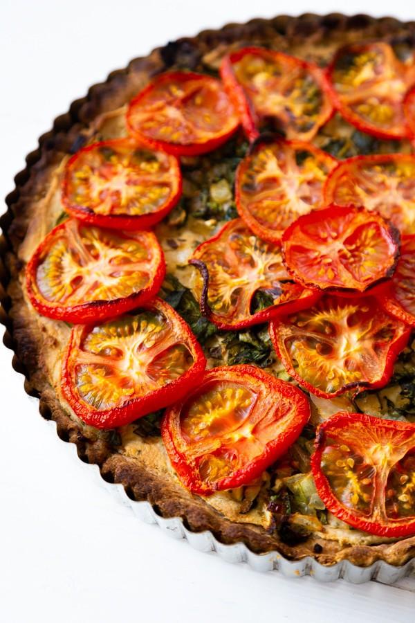 Vegan Tomato and Spinach Tart