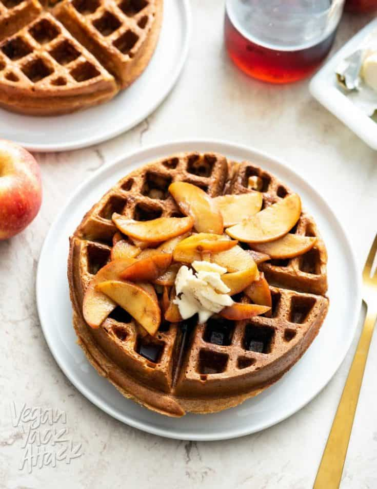 Chai Waffles with Cinnamon Apple Topping – Vegan Yack Attack